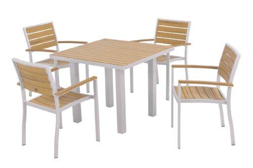 POLYWOOD PWS118-1-11NT 5-Piece Dining Set, Euro, Textured Silver/Plastique - Euro Black Frame Square