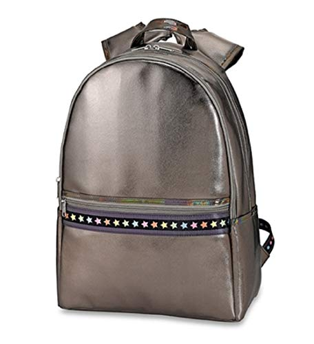 Top Trenz Inc 2 Zipper Leather Backpack (Gun Metal Leather Multi Star)