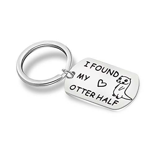MAOFAED Otter Keychain I Found My Otter Half Couple Keychain Engagement Gift Wedding Gift for Husband Wife Boyfriend Girlfriend (Otter Keychain)