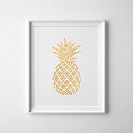 Magictrees Bumblebees Gold Pineapple Print Art Poster