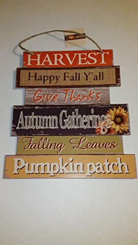 Greenbriar International Wooden Hanging Thanksgiving Autumn Themed Decor Sign - 10.5'' x 11.5'' (Harvest)