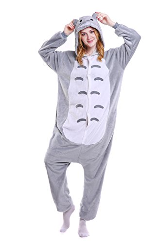 Cute Totoro Costumes (Grilong Unisex Adult Animals Pajamas Onesie Cosplay Costume Cute Sleepwear, Large10_totoro)