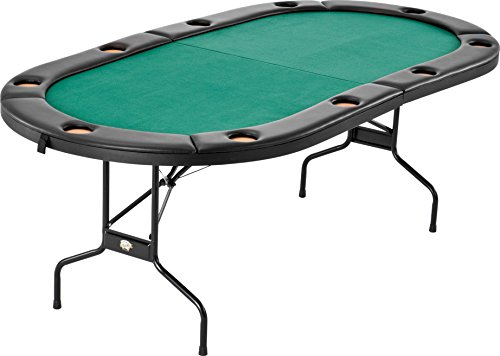 - Fat Cat Folding Texas Hold 'em Poker/Casino Game Table with Cushioned Rail, 10 Player