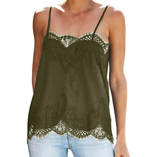 ♛TIANMI T-Shirt for Women,Summer Fashion Strappy Vest Top Sleeveless Lace Patchwork Blouse -