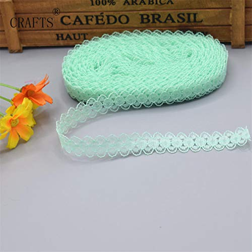 Jyliolom.DR 10 Yards Beautiful Embroidery 14Mm Wide Ribbon DIY Fabric Lace Accessories Sewing Supplies Clothing Aqua Green 5 Yards Double Face Green Letter