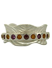 Energy Stone Pretty Amethyst and Citrine High Shine Spinning Ring (Style# SR25)
