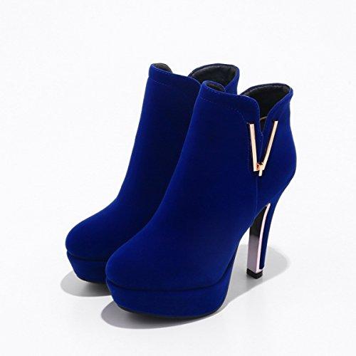 YE Damen Ankle Boots Stiletto Stiefeletten High Heels Plateau mit Metall Schmuck und Reißverschluss 12cm Absatz Elegant Schuhe Blau