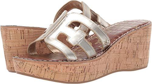 Sam Edelman Women's Regis Heeled Sandal Jute Metallic Leather 7.5 M US