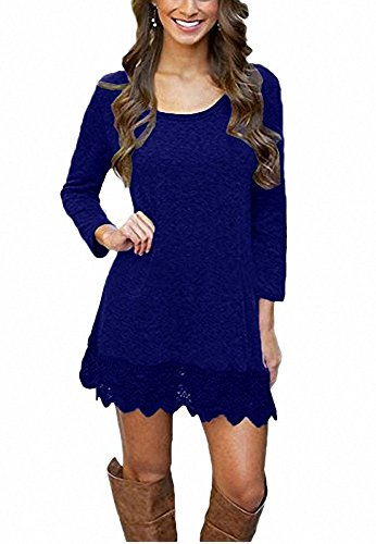 A Casual Dress Dark line Blue Lace Long Sleeve Womens Trim Stitching qU80EzRw