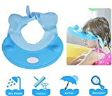 Baby Shower Cap - Soft Elastic Adjustable Bath Shampoo Visor Hat for Toddler, Baby, Kids, Children - Blue