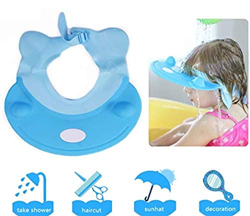 Baby Shower Cap - Soft Elastic Adjustable Bath Shampoo Visor Hat for Toddler, Baby, Kids, Children - Blue by Keklle