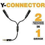 Y Splitter Cable - Audio Jack Splitter - 3.5 Headphone TRRS Splitter - Y Splitter Mic and Audio - Aux Headphone Splitter - Y-Splitter Audio Cable - Dual Headphone Jack Splitter - Microphone Splitter