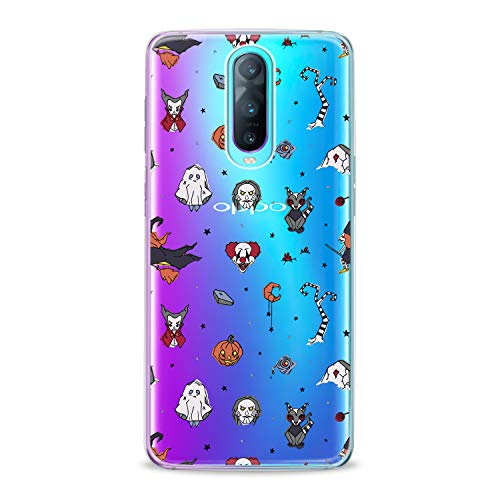 Lex Altern TPU Case for Oppo R17 F11 Realme 2 Pro 1 R15 F7 F9 K1 A7x Halloween Theme Flexible Orange Pumpkins Smooth Scary Clear Clown Design Soft Ghost Slim fit Cover Print Gift Tree Lightweight -