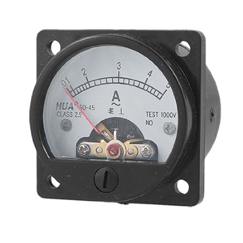 uxcell Class 2.5 Accuracy AC 0-5A Round Analog Panel Meter Ammeter Black (Analog Ac Ammeter)