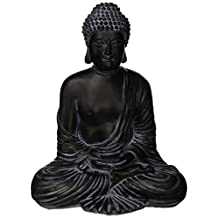 Oriental Furniture Simple Elegant Unique Art Gift Idea Him Her, 12-Inch Large Classic Japanese Style Sitting Meditation Buddha Statue Figure