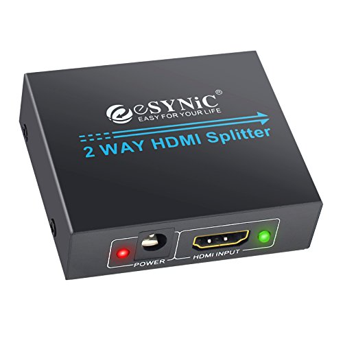 (eSynic 1x2 HDMI Splitter 1 in 2 Out, HDMI Powered Splitter Repeater HDMI Amplifier Switch Support Full HD 1080P 3D for HDTV PS3 PS4 Xbox360 DVD PC Blu-ray Player Apple TV - One Input to Two Outputs)