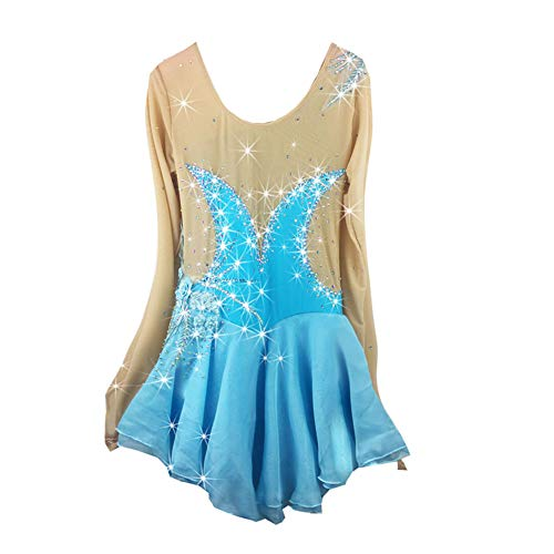 Adulte Motif Patinage Bleu Hongsheng Brillant Figure l Sur Jupe adultssize Robe Mesure Performance Vêtements wAZtg4qtxn