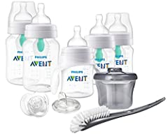 Philips Avent Anti-colic Bottle with AirFree vent Beginner Gift Set, SCD394/02 provides everything a new parent needs for safe, easy feeding. Each of the 4 BPA free Anti-colic bottles includes an AirFree vent designed to reduce most common fe...