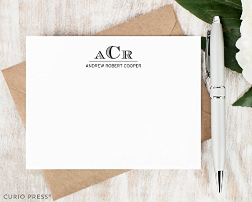 ENGRAVED MONOGRAM - Personalized Flat Stationery Set, Personalised Monogrammed Note Cards, Stationary Thank You Cards, Traditional, Professional Letterhead Notecards