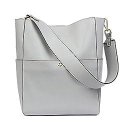 Bostanten Women S Leather Designer Handbags Tote Purses Shoulder Bucket Bags Grey