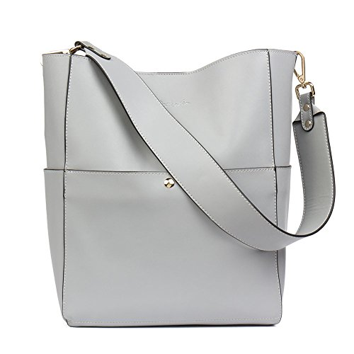 Large Designer Handbag Tote - BOSTANTEN Women's Leather Designer Handbags Tote Purses Shoulder Bucket Bags Grey
