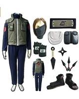 Naruto Hatake Kakashi Cosplay Costume Set (Mask+gloves+headand+shoes)