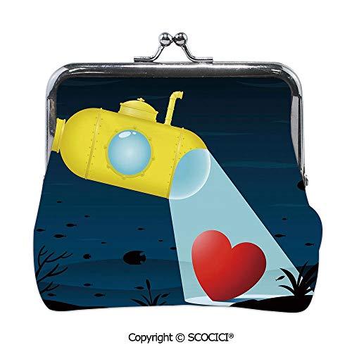 SCOCICI Girl Lightweight Wallet,Illustration of a Underwater,Mini Clutch Wallet