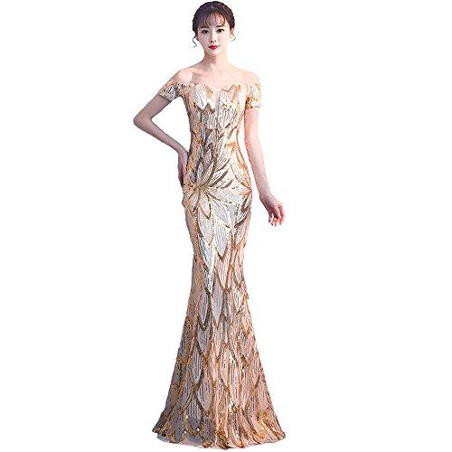 Rillsiy 2018 Vestidos De Noche del Banquete De La Correa De La Correa De Las Mujeres Elegantes Hombros Es Una Palabra Fishtail Host Dress Dresses,Gold,S