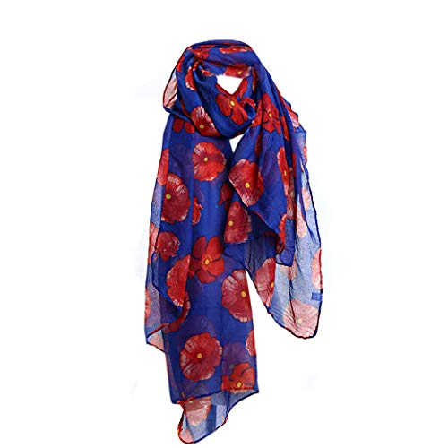Lujuny Spring Fall Fashion Lightweight Print Flower Voile Scarf for Women Girls (Blue)