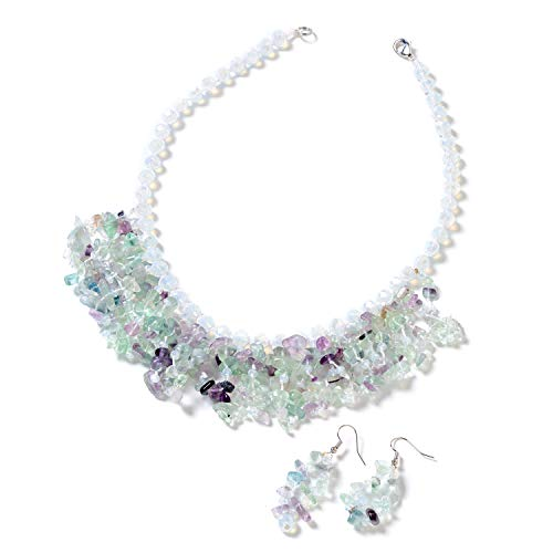 Fluorite Necklace Set (Shop LC Delivering Joy Fluorite Silvertone and Stainless Steel Earrings and Bib Necklace Jewelry Set for Women 18