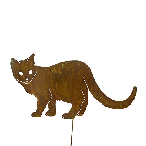 (Elegant Garden Design Walking Cat Garden Stake, Rusty Patina)