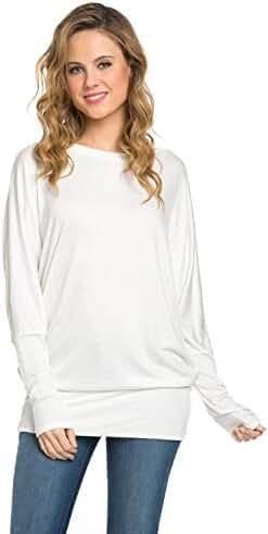 Frumos Womens Long Batwing Sleeve Drape Jersey T Shirts Tunic Top