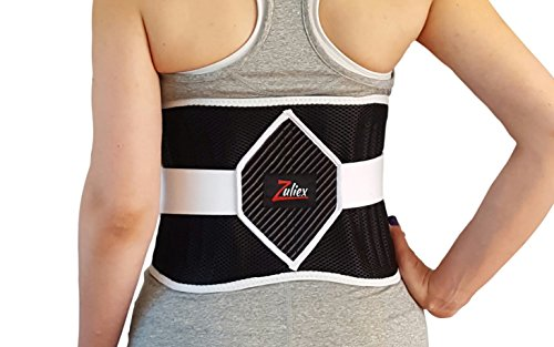 1 Back Pocket (Zuliex Diamond Strength Back Brace | Adjustable Back Support Belt | Exclusive Heat & Ice Pack Pocket | Lower Back Relief | Men & Women | One Size Fits Most (27-44 Waist))