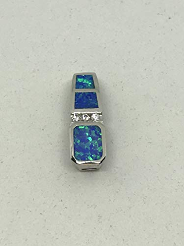 Natural Opal and White Topaz Gemstone Sterling Silver Rectangle Slide Pendant