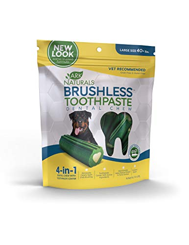Ark Naturals Brushless Toothpaste, Vet Recommended Natural Dental Chews for Large Dogs, Plaque, Tartar and Bacteria Control