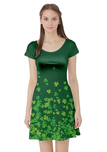 CowCow Womens Shamrock Green Fall Short Sleeve Skater Dress, Shamrock Green Fall - 5XL -