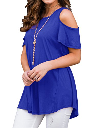 upc 785197003668 product image for PrinStory Womens Short Sleeve Off Shoulder Round Neck Casual Loose Top Blouse T-Shirt Royal Blue-XL
