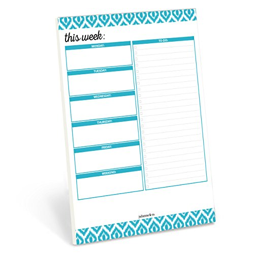 "Weekly Planner Pad by Julianne & Co - Premium Weekday & Weekend Task Organizer, Undated Appointment & To-Do Tear-Away Notepad, Organize & Plan Chores & Meetings - 8.5""x 11"" - 50 Paper Sheets"