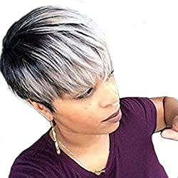 TopWigy Short Human Hair Wigs for Black Women Layered Pixie Cut Mixed Human Hair Bob Wigs 8 Inches Ombre Silver
