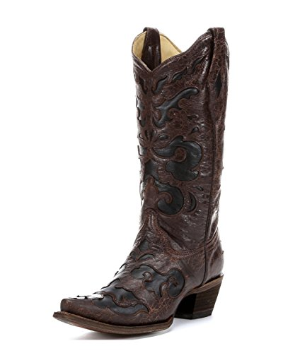 CORRAL Women's C1957 Vintage Goat Inlay Brown Fashion Boots 12 M