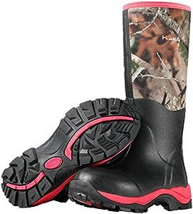 GarminHisea Women's Hunting Boots Insulated Rain Boots Waterproof Rubber Boots Neoprene Muck Outdoor Boots