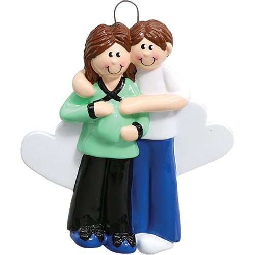 Personalized Pregnant Couple Christmas Ornament for Tree 2018 - Brunette Expecting Mom to Be touch Bump Heart - Shower Boy Girl Gender Neutral 1st Parents Holiday - Free Customization (Brown Hair)