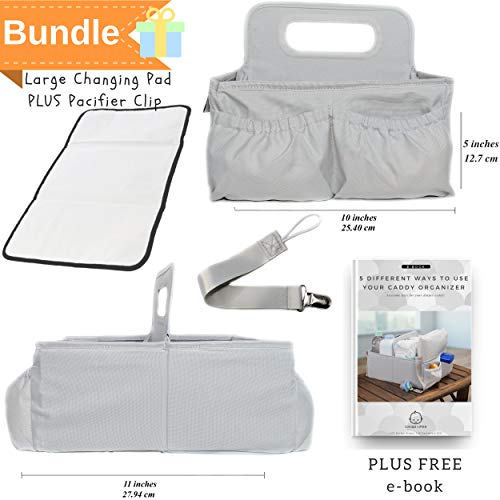 Diaper caddy organizer & changing pad- easy storage and portable for travel. Great for nursery room. Excellent baby shower gift set. Neutral unisex grey color