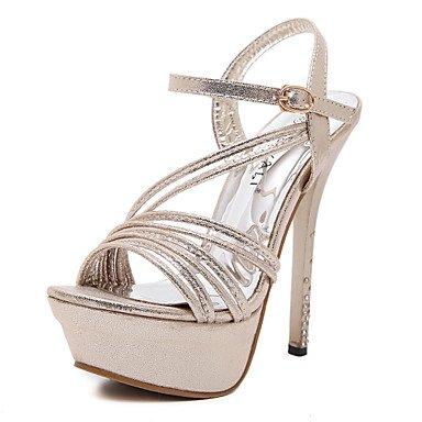 LvYuan Tacón Stiletto-Zapatos del club-Sandalias-Oficina y Trabajo Fiesta y Noche Vestido-Sintético-Plata Oro Gold