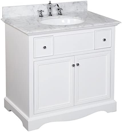 Emily 36-inch Bathroom Vanity Carrara White Includes a White Cabinet, an Italian Carrara Marble Countertop, Soft Close Drawers, and a Ceramic Sink