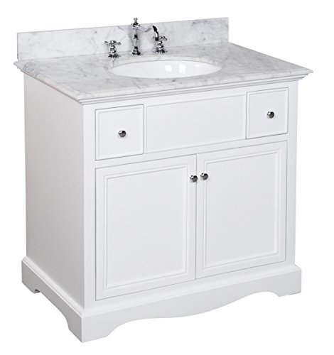 22 Carrera White Countertop - Emily 36-inch Bathroom Vanity (Carrara/White): Includes a White Cabinet, an Italian Carrara Marble Countertop, Soft Close Drawers, and a Ceramic Sink
