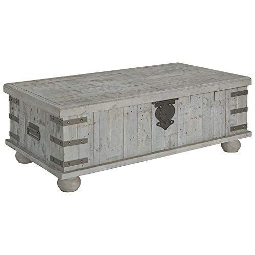 (Ashley Furniture Signature Design - Carynhurst Coffee Table - Distressed Finish - White)