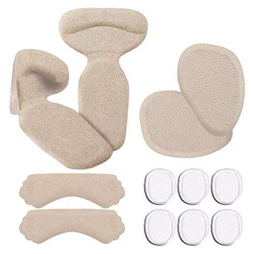 Heel Forefoot Cushion,Heel Grips Set , High Heel Insoles with Anti Slip Shoe Cushion Blister Shoe Pads for Women Man Shoes Too Big(12 pcs) (Beige) ()