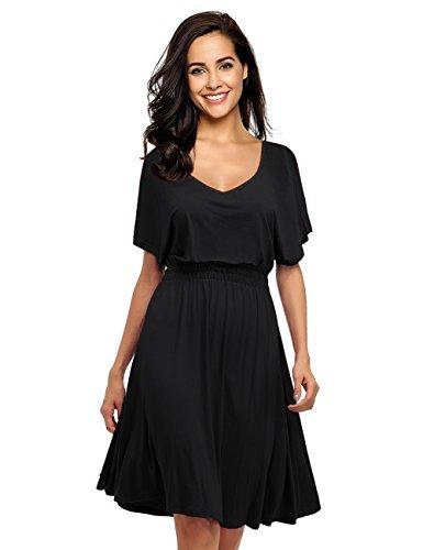 Leadingstar Women V Neck Elastic Waist Casual Dress (Black - Batwing Sleeve, S) ()