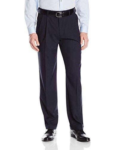 (Haggar Men's Premium Stretch Solid Gabardine Expandable Waist Pleat Front Dress Pant, Navy, 34Wx34L)